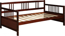 Twin Size Wooden Slats Daybed Bed with Rails-Chocolate