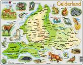 Puzzle Cadre - Carte de Gelderland et ses Animaux (en Allemand)