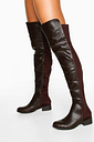 Womens Croc Over The Knee Boots - Brown - 5, Brown