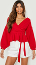 Womens Bell Sleeve Wrap Over Top - Red - 14, Red