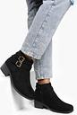 Womens Double Buckle Chelsea Ankle Boots - Black - 8, Black