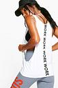 Womens Fit Work Slogan Running Vest - White - 8, White