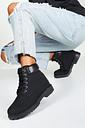Womens Padded Cuff Chunky Hiker Boots - Black - 4, Black
