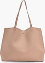 Womens Large Popper Tote Shopper Bag - Beige - One Size, Beige