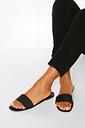 Womens Jelly Square Toe Slides - Black - 8
