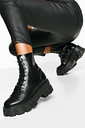 Womens Chunky Cleated Hiker Boots - Black - 3, Black
