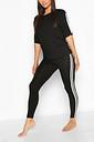 Womens Side Stripe T-Shirt Leggings Lounge Set - Black - 14, Black