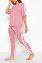 Womens Side Stripe T-Shirt Leggings Lounge Set - Pink - 10, Pink