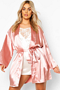 Womens Plus Satin Belted Mini Dressing Gown - Pink - 18, Pink