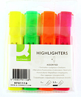 Q Connect KF01116 Assorted Highlighter Pens Pack 4