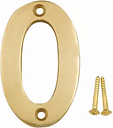 Polished Brass effect Metal House number 0  (H)75mm (W)48mm