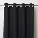 Novan Black Plain Unlined Eyelet Curtain (W)117cm (L)137cm  Single