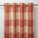 Podor Orange & white Check Unlined Eyelet Curtain (W)117cm (L)137cm  Single