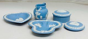 Wedgwood Blue Jasper Dressing Table Set