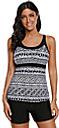 Mujer Tallas Grandes Ocasional / deportivo Traje de baño Cruzado Geométrico Camiseta con cuello redondo Bañadores Trajes de baño Negro / Sujetador Acolchado
