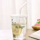 Taza de bebida de moda creativa con tapa taza de vidrio con pajita