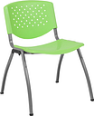 RUT-F01A-GN-GG Hercules Series Plastic Stack Chair with Titanium Frame, Green - 880 lbs