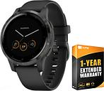 Garmin Vivoactive 4S GPS Smartwatch w/ Fitness & Music Apps BK/SL + Extended Warranty