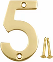 Polished Brass effect Metal House number 5  (H)75mm (W)48mm