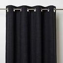 Novan Black Plain Unlined Eyelet Curtain (W)117cm (L)137cm  Single