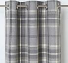 Podor Grey Check Unlined Eyelet Curtain (W)167cm (L)228cm  Single