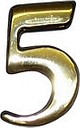 The House Nameplate Company Polished Brass Self-adhesive House number 5  (H)50mm (W)25mm