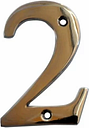 The House Nameplate Company Polished Chrome effect Metal House number 2  (H)100mm (W)63mm
