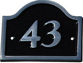 The House Nameplate Company Polished Black Aluminium House number 43  (H)120mm (W)160mm
