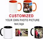 Taza de café con foto personalizada DIY, taza de té de la leche con mango multicolor con logotipo de