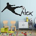 Taza de pared de fútbol peel balón de fútbol, calcomanía de vinilo para pared con nombre