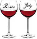 Excelentes adhesivos de vinilo para vino con forma de taza calcomanías de nombre personalizadas para