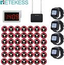 Retekess Restaurant Calling System Call Waiter Service Receiver Host+4 Watch Receiver+Signal Repeater+42 Call Buttons Hookah