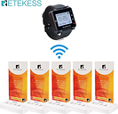 RETEKESS Restaurant Pager Wireless Calling System Table Cards Watch Receiver+5 Transmitter Buttons Cafe Bar Pager Guest Service