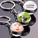 Llavero personalizado con foto y bola de cristal para familia, llavero con logotipo personalizado,