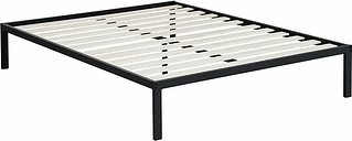 King size Heavy Duty Metal Platform Bed Frame with Wooden Slats