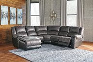 Nantahala 5-Piece Reclining Sectional with Chaise, Slate