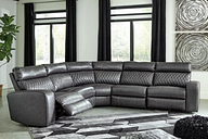 Samperstone 5-Piece Power Reclining Sectional, Gray