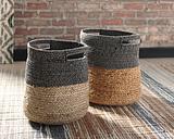 Parrish Natural/Black Basket (Set of 2), Natural/Black