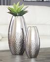 Dinesh Vase (Set of 2), Silver Finish