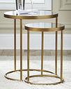 Majaci Accent Table (Set of 2), Gold Finish/White