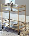 Kailman Bar Cart, Gold Finish