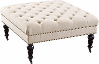Isabelle Square Tufted Ottoman, Natural