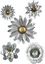 Galvanized Metal Flower Wall Hangings (Set of 5), Multi