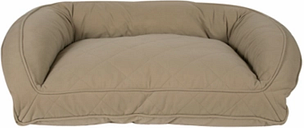 Poly Fill Medium Quilted Microfiber Bolster Pet Bed, Beige