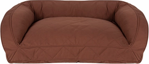 Poly Fill Medium Quilted Microfiber Bolster Pet Bed, Chocolate