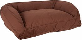 Poly Fill Large Quilted Microfiber Bolster Pet Bed, Chocolate