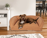 Poly Fill Medium Quilted Microfiber Bolster Pet Bed, Saddle