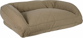 Memory Foam Large Quilted Microfiber Bolster Pet Bed, Beige