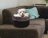 Round Puff Pet Bed, Charcoal