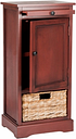 Wicker Basket Tall Storage Cabinet, Red